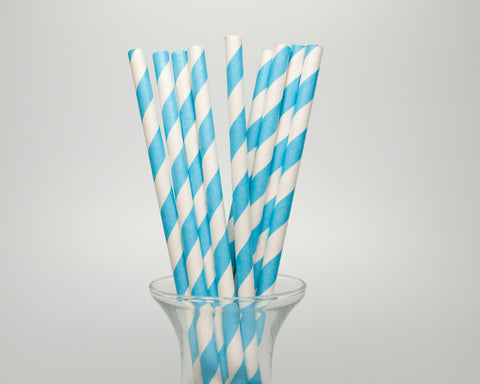 Blue Striped Straws