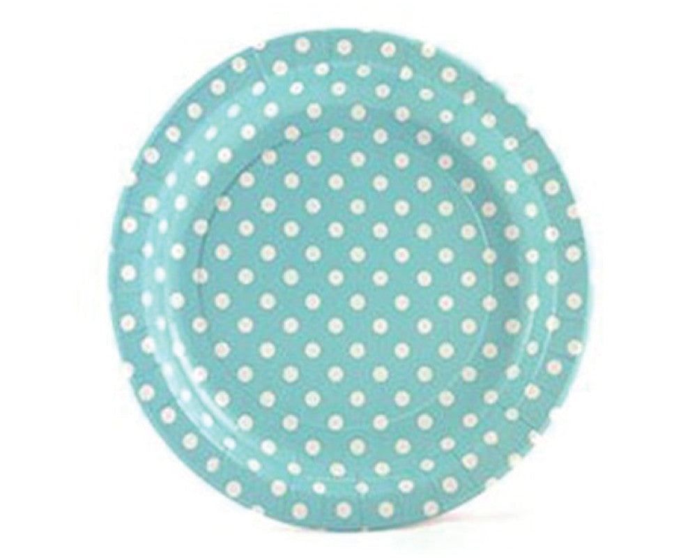 Blue With White Polka Dots Paper Plates - Undercover Hostess
