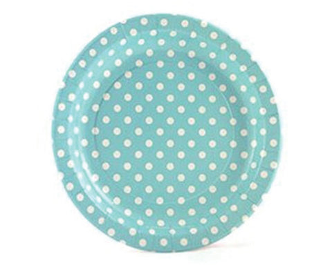 Blue With White Polka Dots Paper Plates