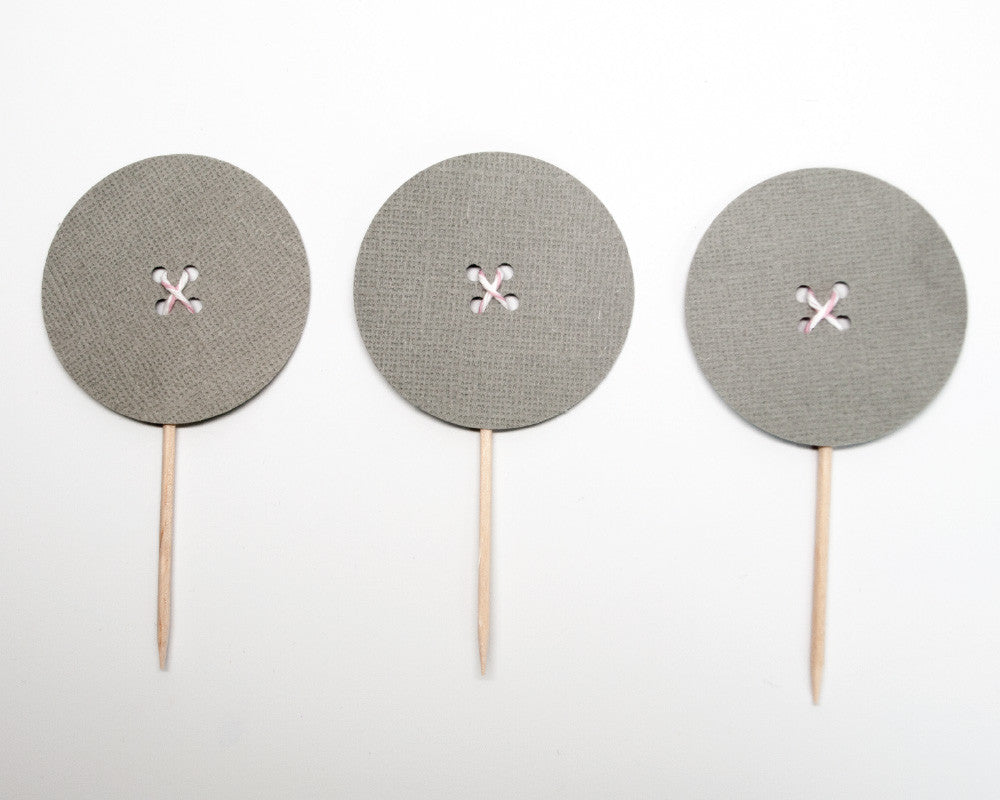 Gray Button Cupcake Toppers - Undercover Hostess