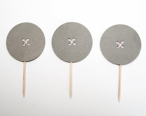 Gray Button Cupcake Toppers