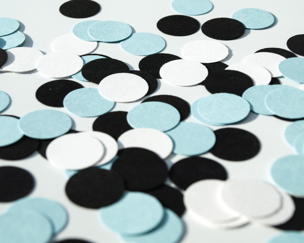 Blue, White and Black Confetti - Undercover Hostess