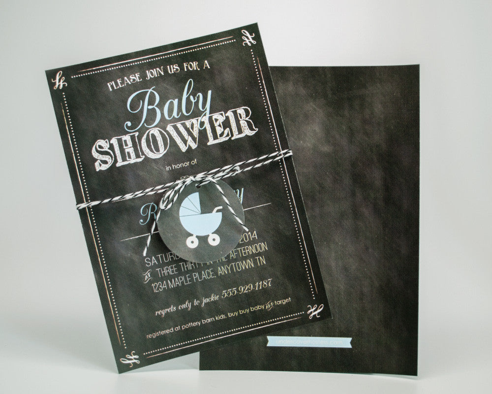 Charming Chalkboard Baby Boy Shower Invitations - Undercover Hostess - 1