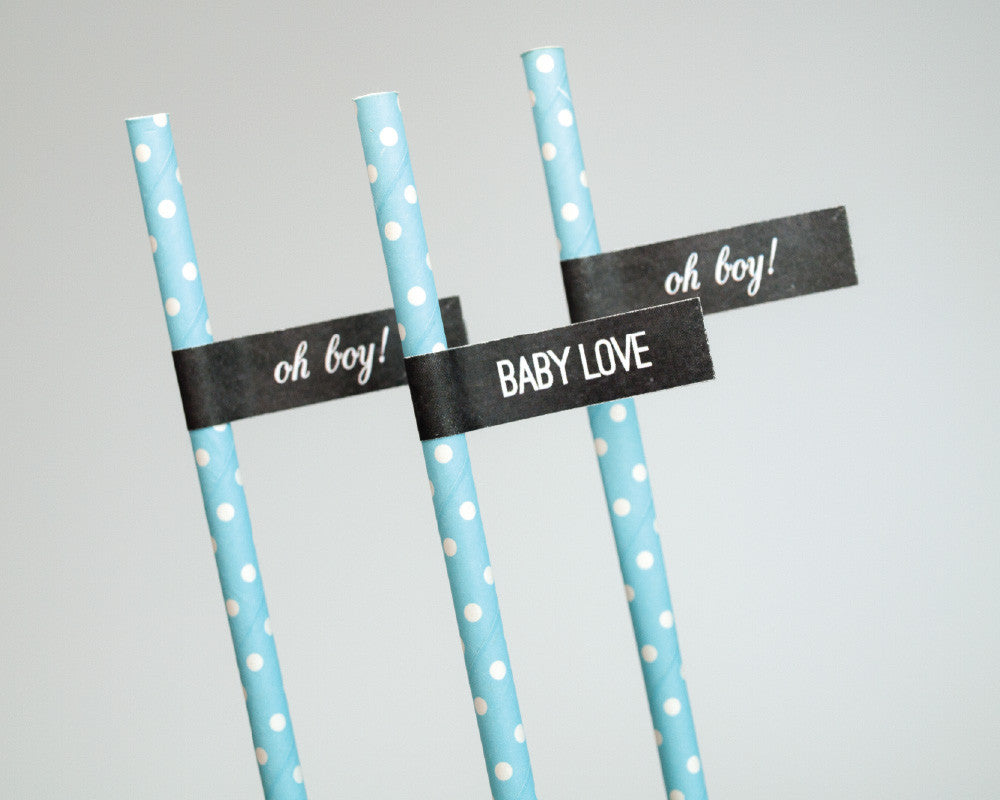 Charming Chalkboard Baby Boy Straw & Flag Set - Undercover Hostess