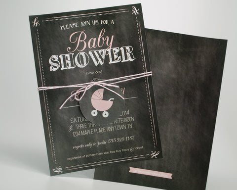 Charming Chalkboard Baby Girl Shower Invitations