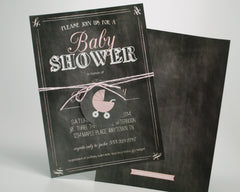 Charming Chalkboard Baby Girl Shower Invitations - Undercover Hostess - 1