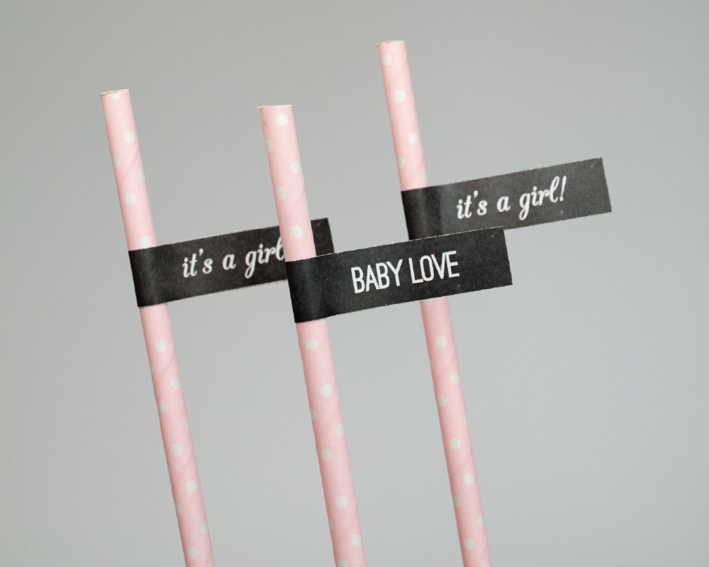 Charming Chalkboard Baby Girl Straw & Flag Set - Undercover Hostess
