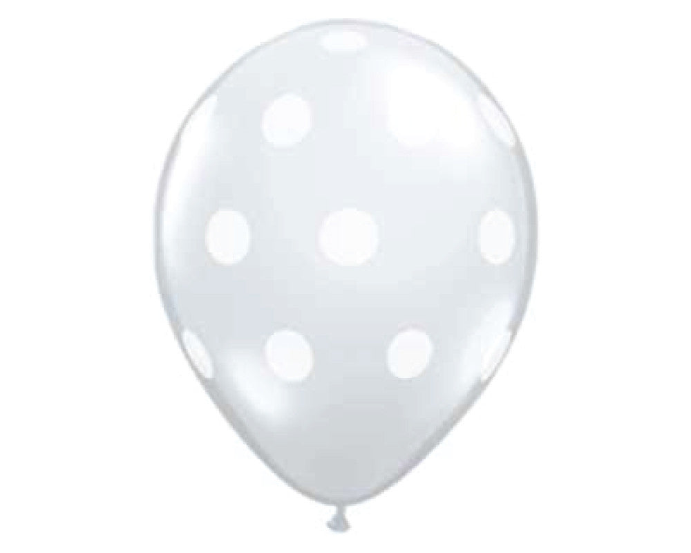 "Clear Polka Dot 11"" Balloon - Set of 6 - Undercover Hostess - 1"