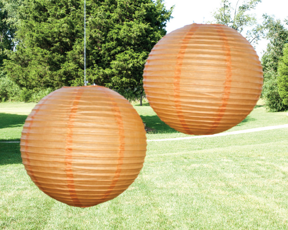 Orange Paper Ribbed Lanterns - Undercover Hostess