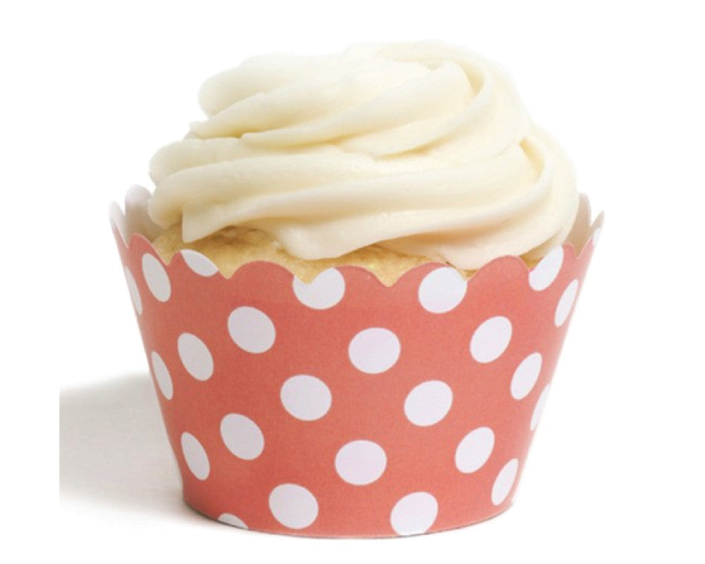 Coral Polka Dot Cupcake Wrappers - Undercover Hostess