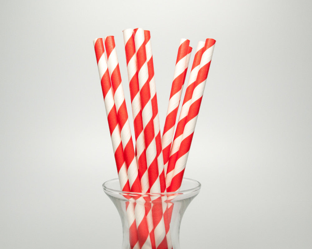 Coral Striped Straws - Undercover Hostess