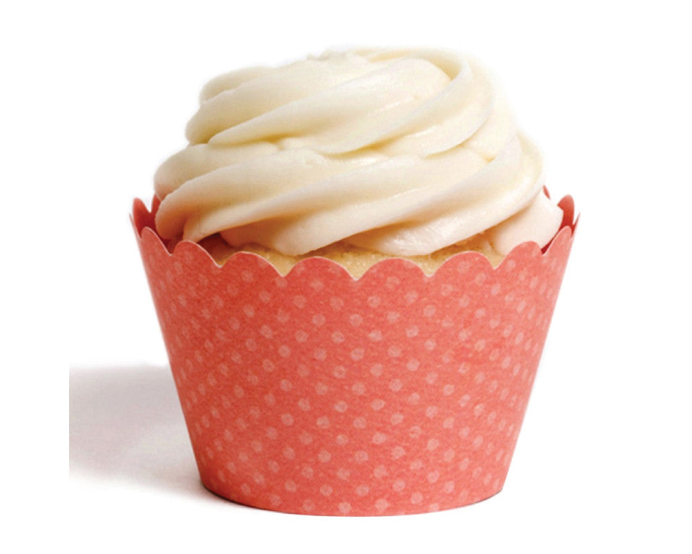 Coral Tiny Dot Cupcake Wrappers - Undercover Hostess