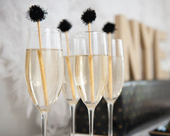 Gold Drink Stirrers with Black Glitter Pom Pom - Undercover Hostess