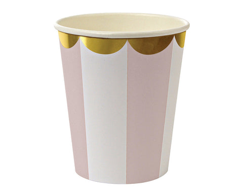 Dusty Pink Striped Paper Cups