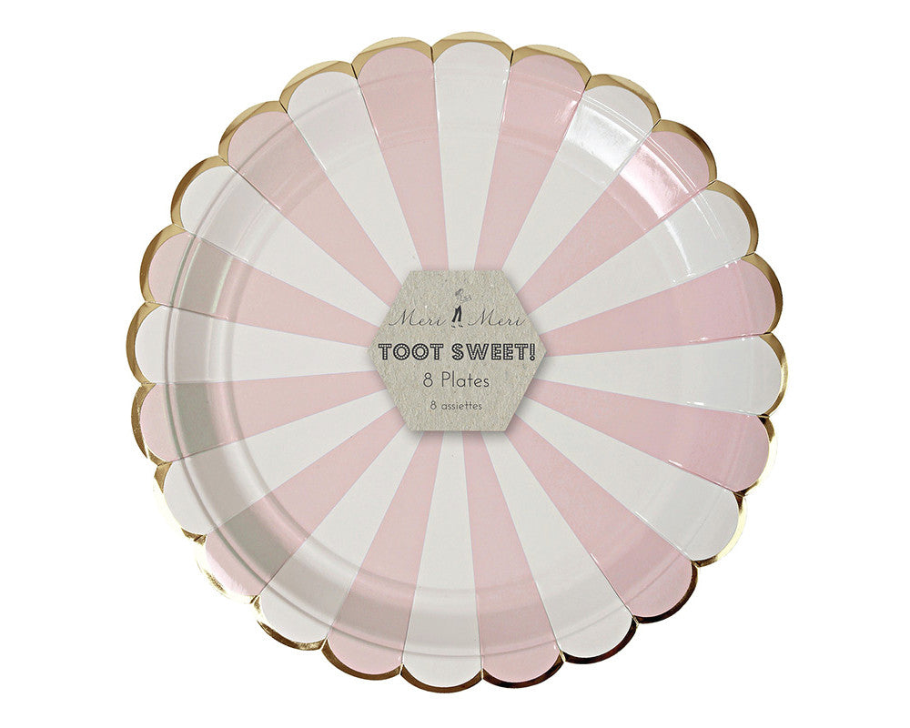 Dusty Pink Striped Large Plates - Undercover Hostess