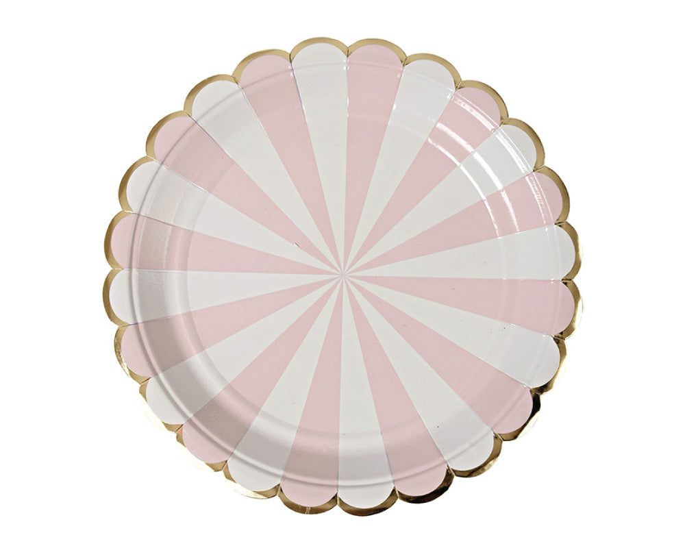 Dusty Pink Striped Small Plates - Undercover Hostess