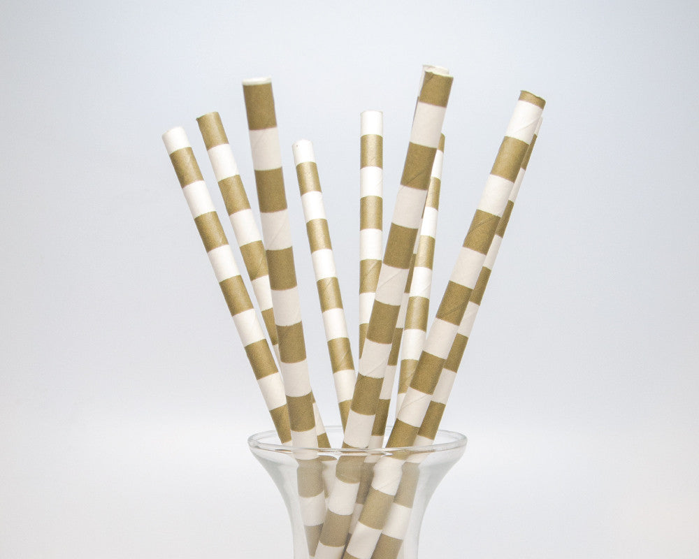 Gold Horizontal Striped Straws - Undercover Hostess