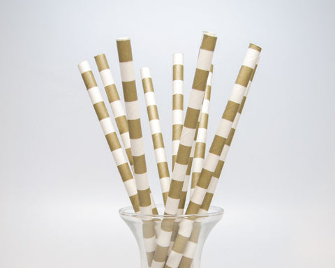 Gold Horizontal Striped Straws