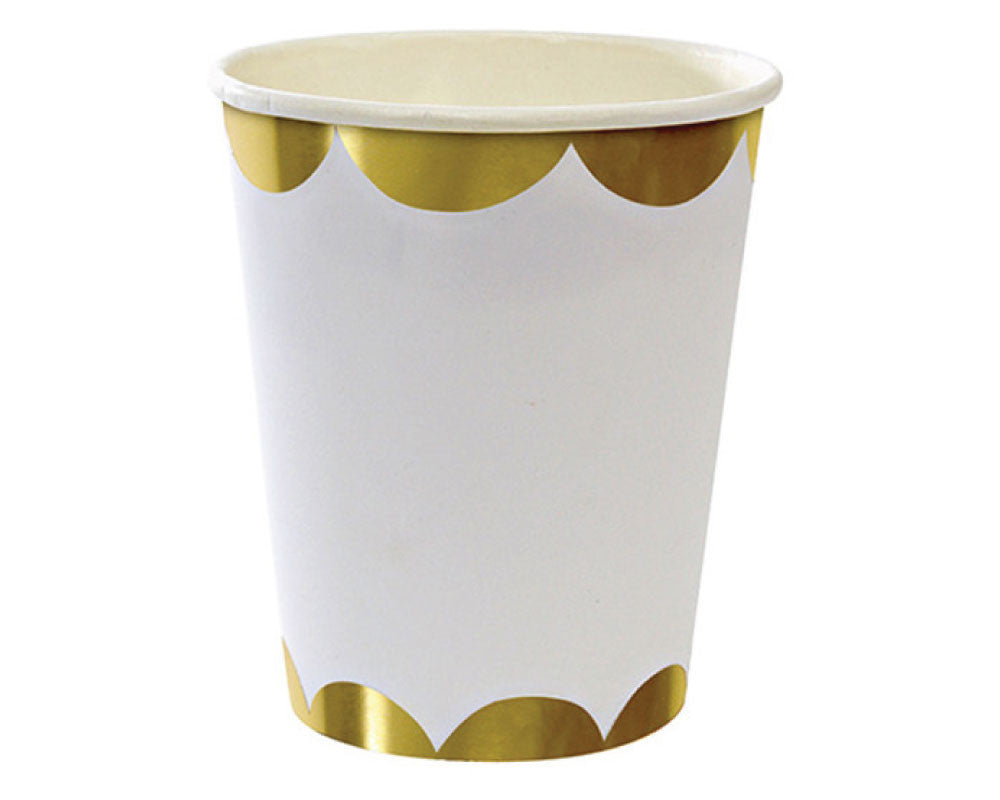 Gold & White Scalloped Paper Cups - Undercover Hostess