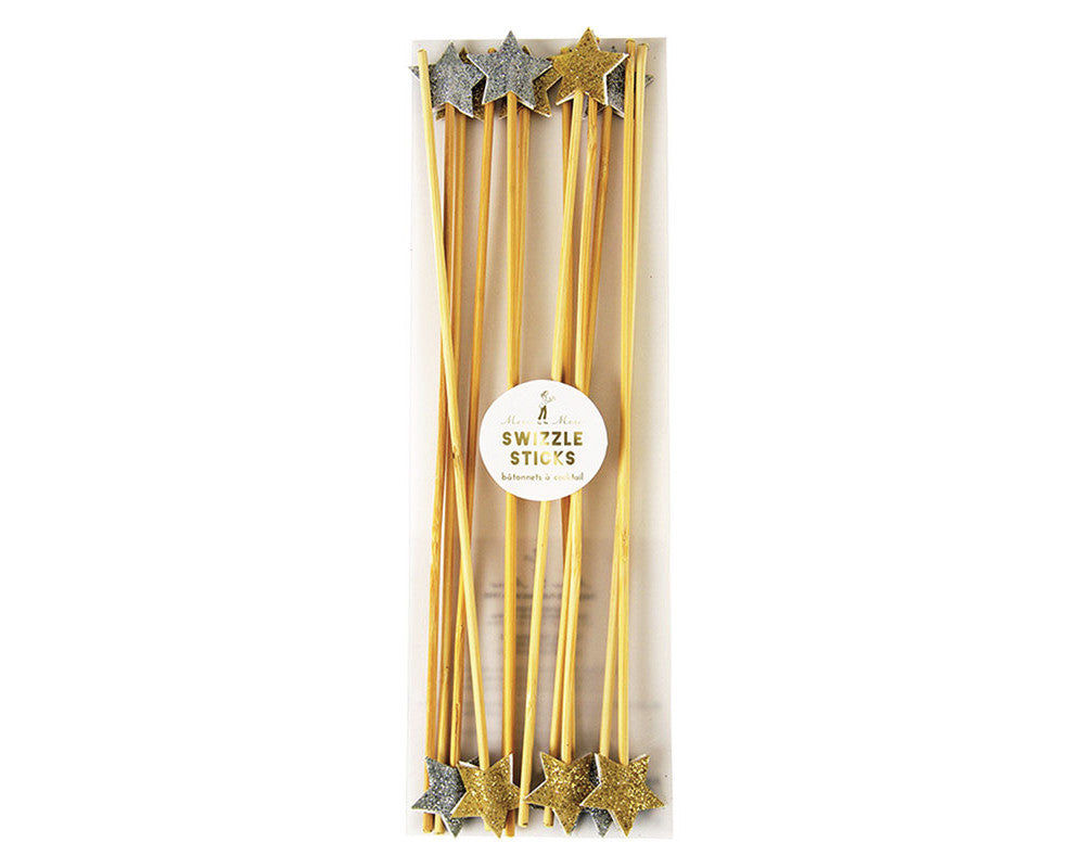Gold And Silver Stars Swizzle Sticks - Undercover Hostess