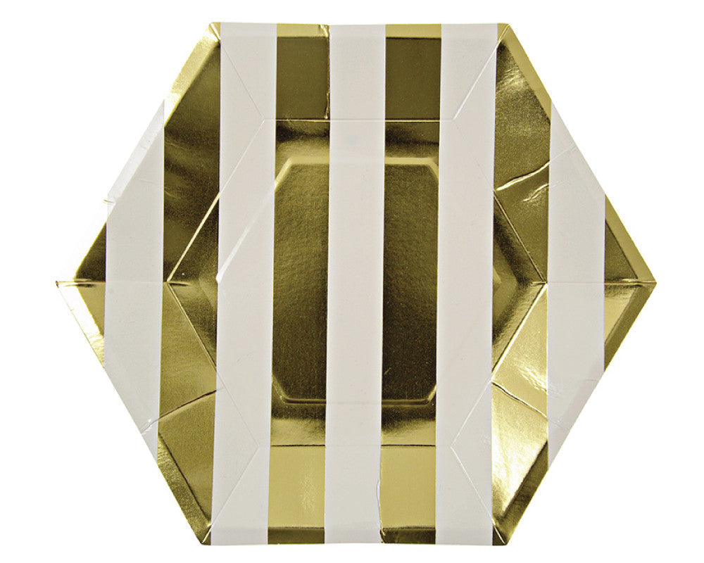 Gold Stripe Paper Plates - Undercover Hostess