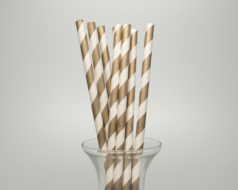 Gold Striped Straws - Undercover Hostess
