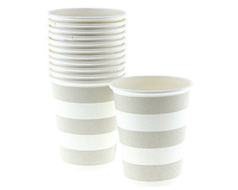 Taupe Stripe Paper Cups
