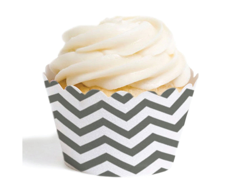 Gray Chevron Cupcake Wrappers - Undercover Hostess