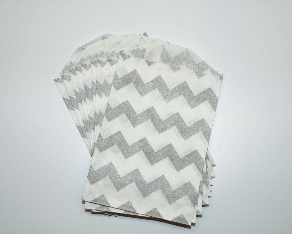 Small Gray Chevron Favor Bag - Undercover Hostess