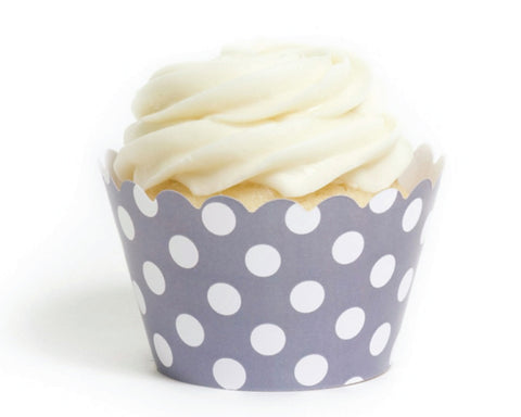 Gray Polka Dot Cupcake Wrappers