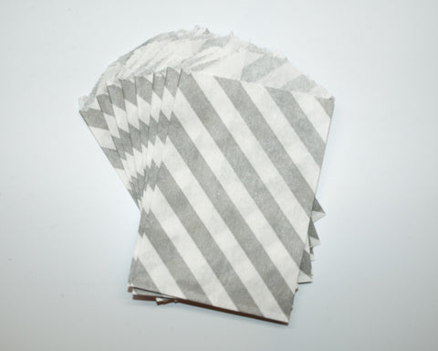 Small Gray Stripe Favor Bag