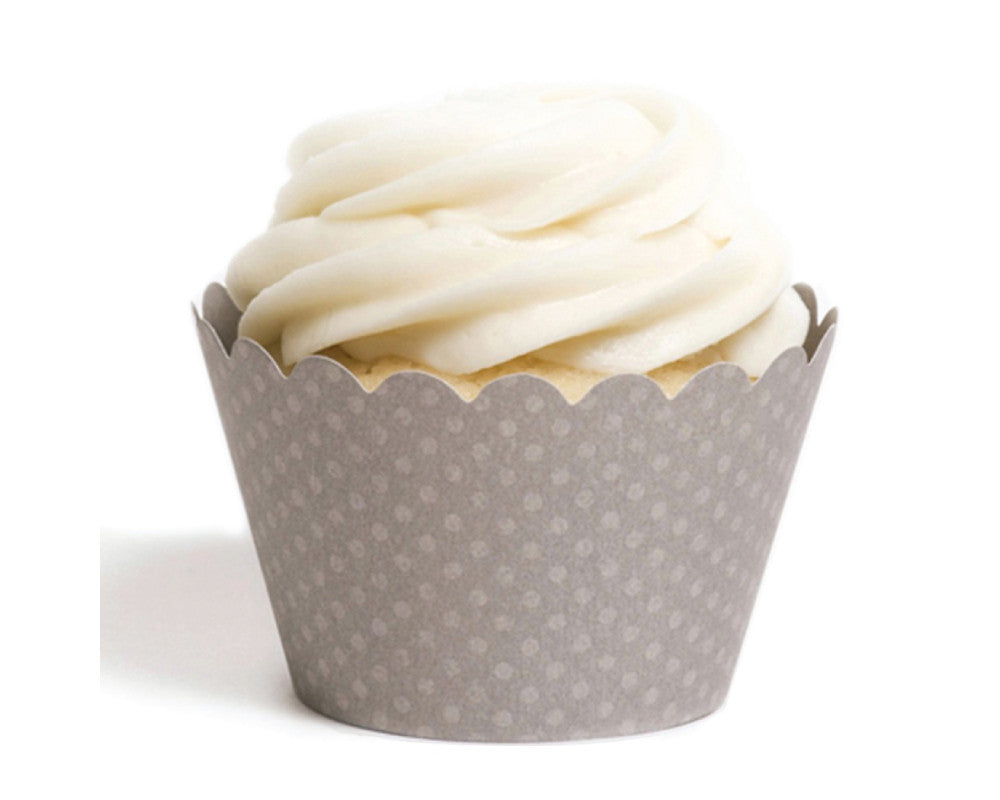 Gray Tiny Dot Cupcake Wrappers - Undercover Hostess