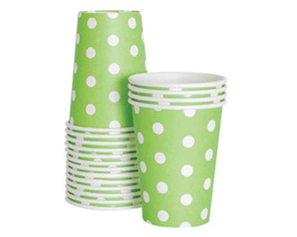 Green Polka Dot Paper Cups - Undercover Hostess