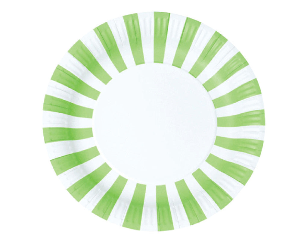 Green Stripe Paper Plates - Undercover Hostess