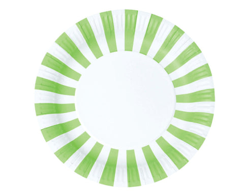 Green Stripe Paper Plates