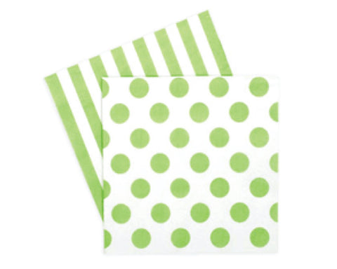 Green Polka Dots & Stripes Napkins