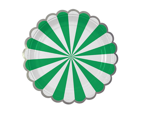 Green & White Scalloped Dessert Plates