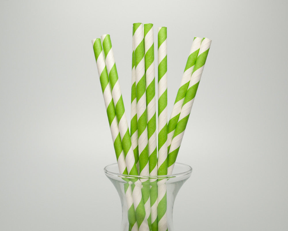 Green Striped Straws - Undercover Hostess