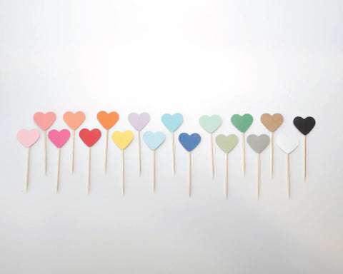 Solid Color Heart Cupcake Toppers