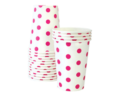 Hot Pink Polka Dot Paper Cups
