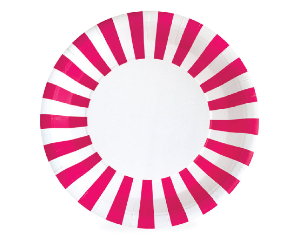 Hot Pink Stripe Paper Plates - Undercover Hostess - 1