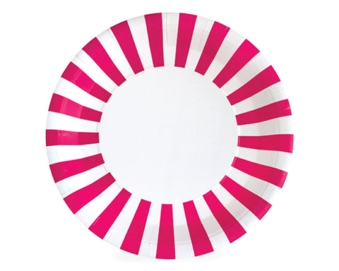 Hot Pink Stripe Paper Plates