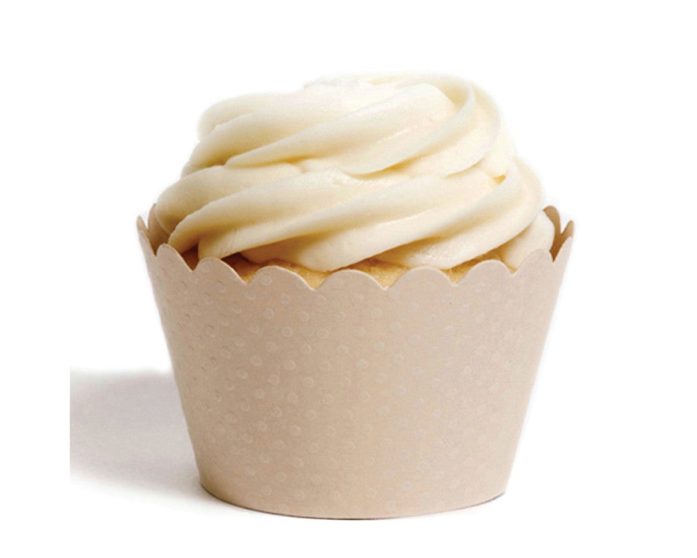 Ivory Tiny Dot Cupcake Wrappers - Undercover Hostess