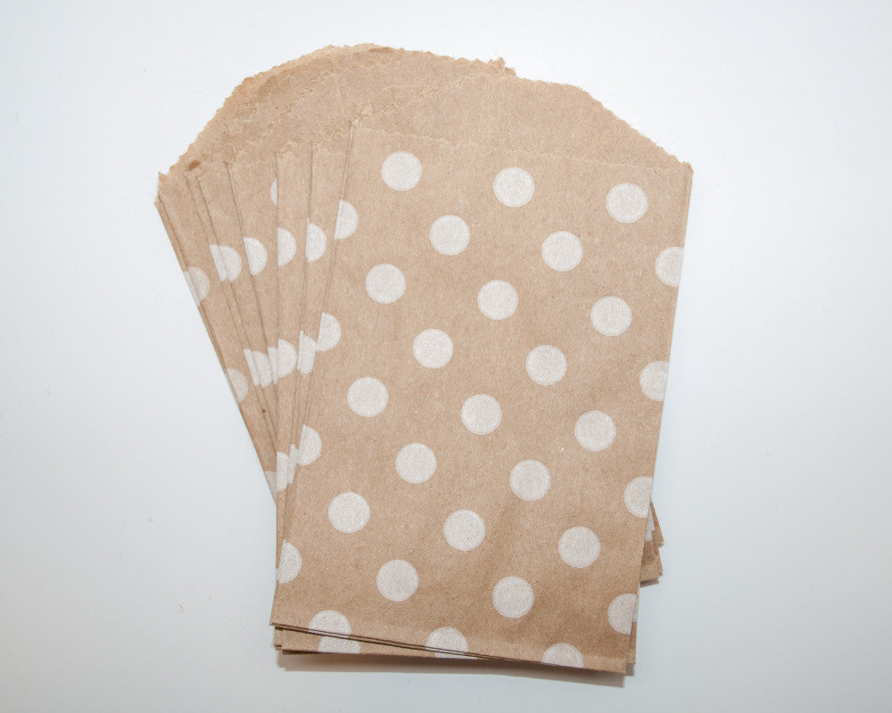 Small Kraft Polka Dot Favor Bags - Undercover Hostess