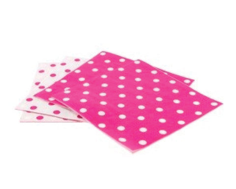 Bright Pink Polka Dot Napkins