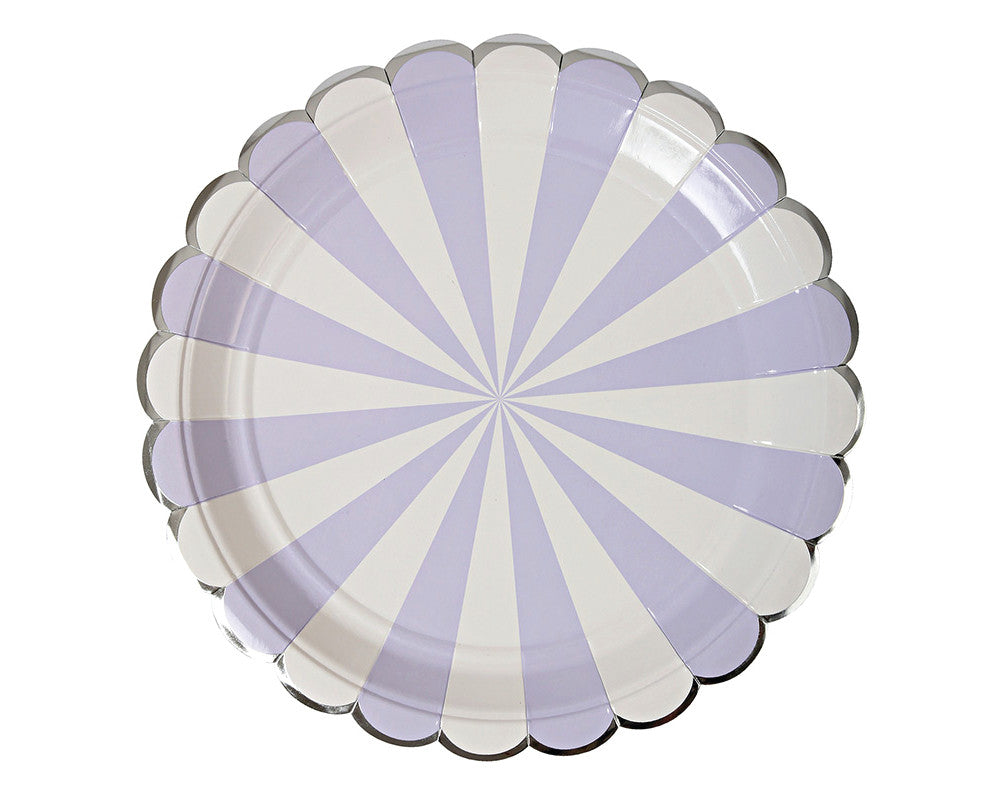 Lavender Striped Large Plates - Undercover Hostess