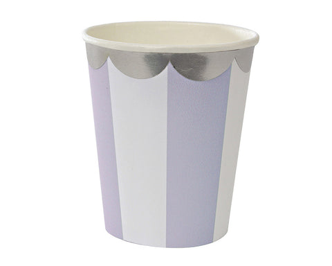 Lavender & White Scalloped Paper Cups