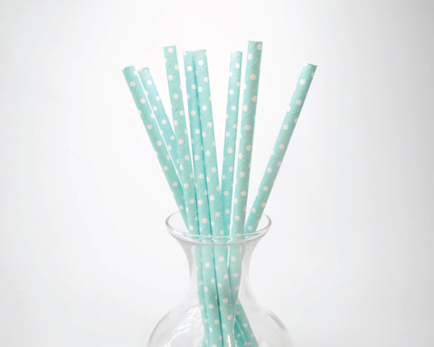 Light Blue Polka Dot Straws