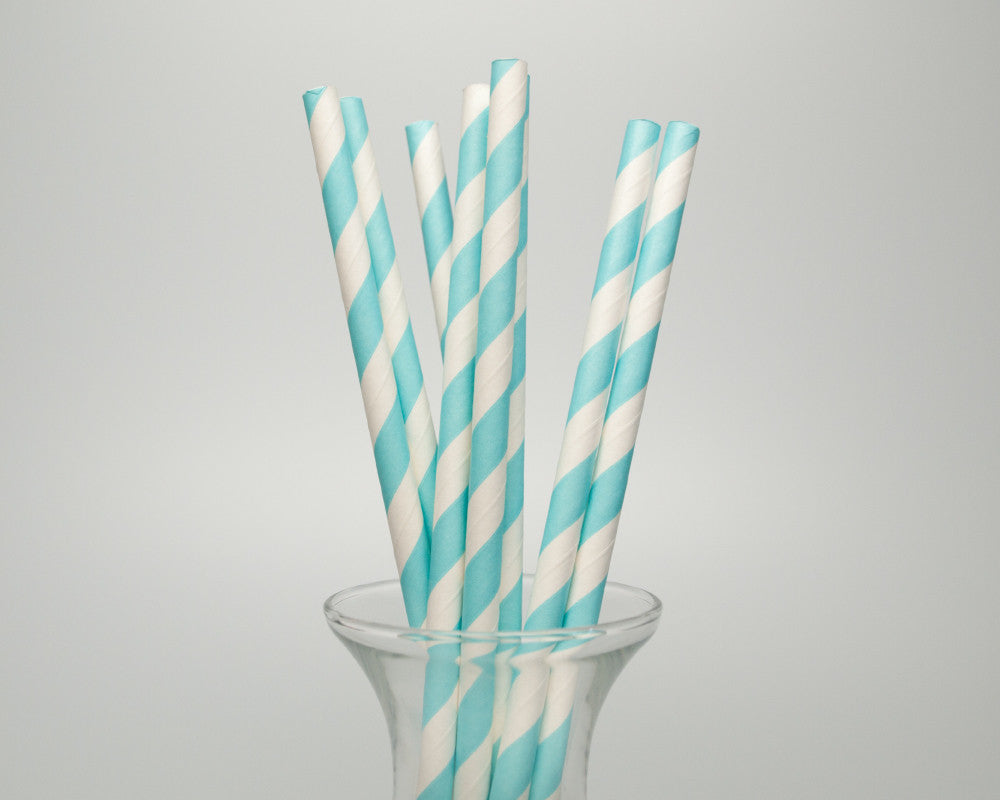 Light Blue Striped Straws - Undercover Hostess