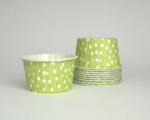Lime Green Polka Dot Candy Cups